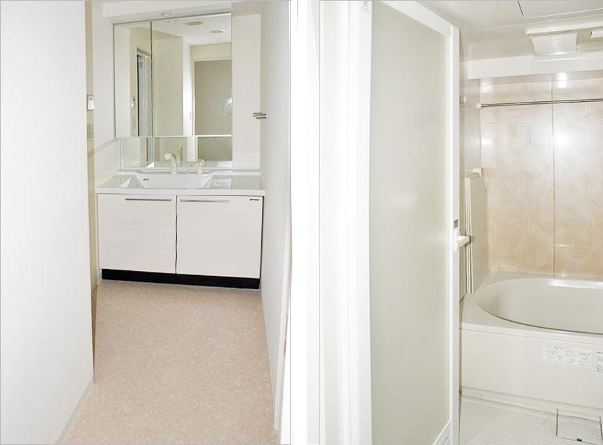追い炊き、浴室乾燥機能付きの広い洗面、バス。