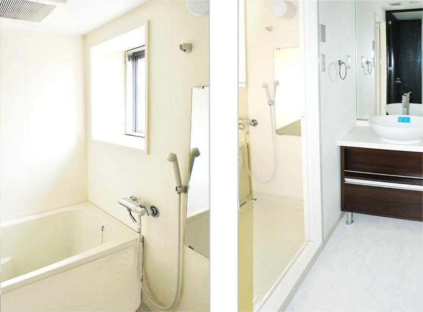 明るく、開放的な洗面、バスルーム。