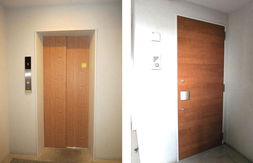 エレベーターも玄関も温もりを感じるウッド造り。