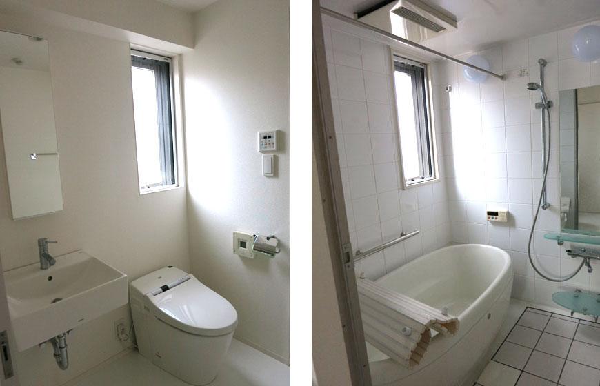 トイレもバスも明るく気持ちよく使えます。