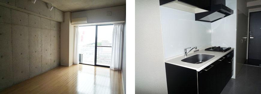 415号室はもう少しコンパクト。スクエア415部屋とキッチン870補正