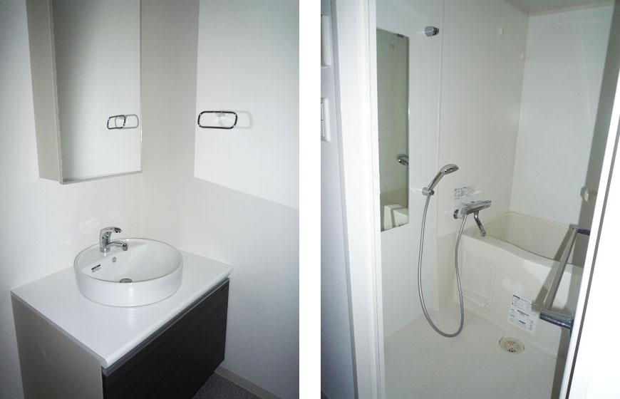独立型のかわいい洗面。上前津洗面とバス870補正