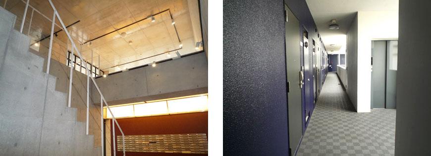 集合ポストとおしゃれな共有スペース。スクエア集合ポストと廊下870補正