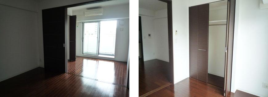 シックなダークブラウンのドア、フローリング。上前津部屋窓向きとクローゼット870補正