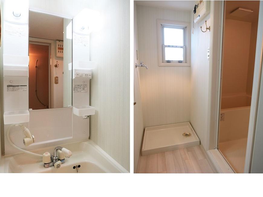 洗面と浴室には小窓があるので、換気にもなりいつでも清潔です。