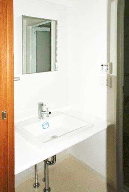 洗面台には収納扉が無い分、お掃除しやすいですね。