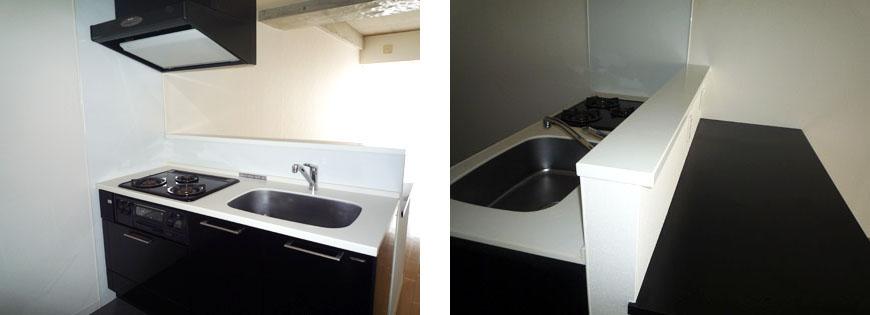 広いキッチンくくり付けのキッチンカウンター。スクエアキッチンとカウンター870補正