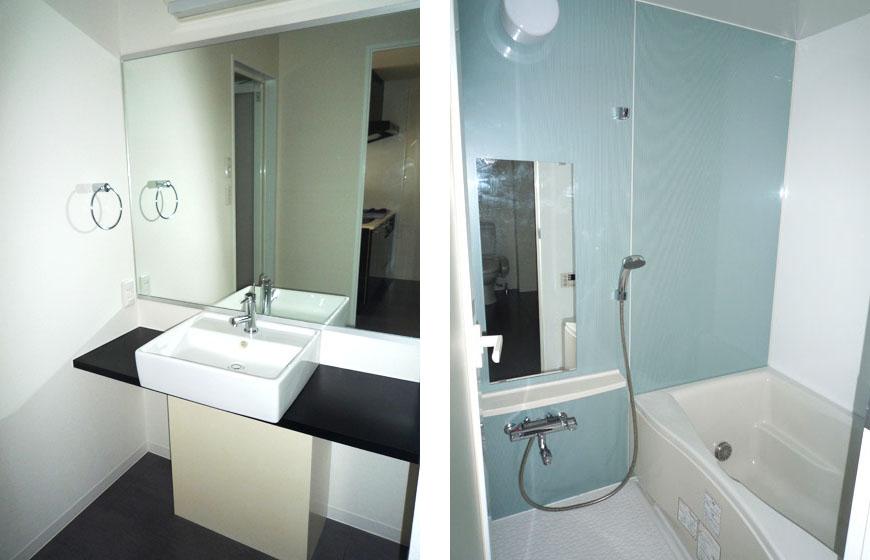 清潔感があってすっきりした洗面とお風呂。スクエア洗面とバス870補正