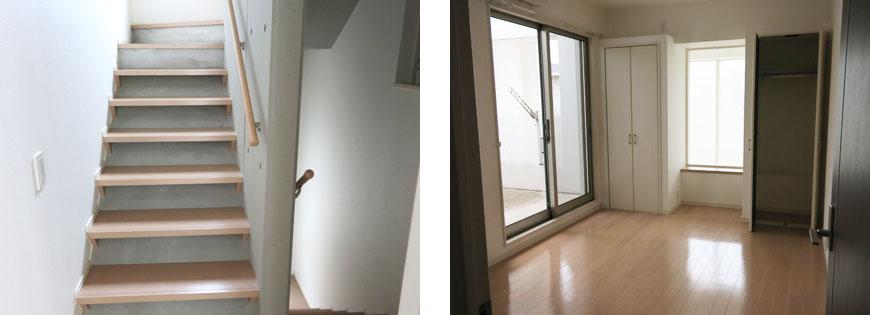 地形を上手に利用した三層メゾネット。東山階段と部屋870補正