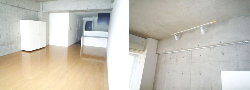 コンクリートに白が映えますね。クローゼット付き。スクエア703部屋と照明870補正