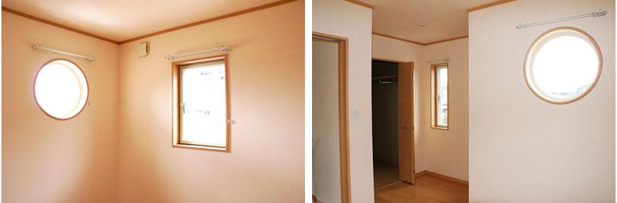 寝室は丸い窓がかわいいアクセントimg_10