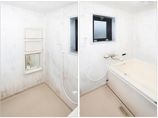 バスルームには棚と鏡があり、換気扇もついています。