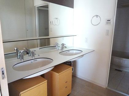 スタイリッシュな洗面台。ボウルが2つもあります。