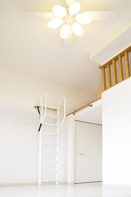 梯子は、このように横の壁にかけれます。