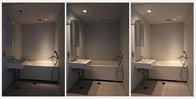 バスルームの3パターンの照明の変化はこんな感じです。