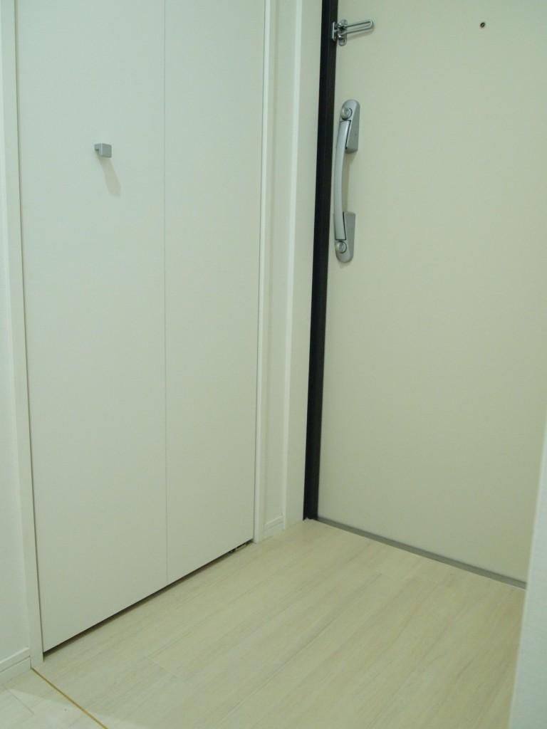201号室の玄関も、段差の殆どないフラットなタイプになっています。