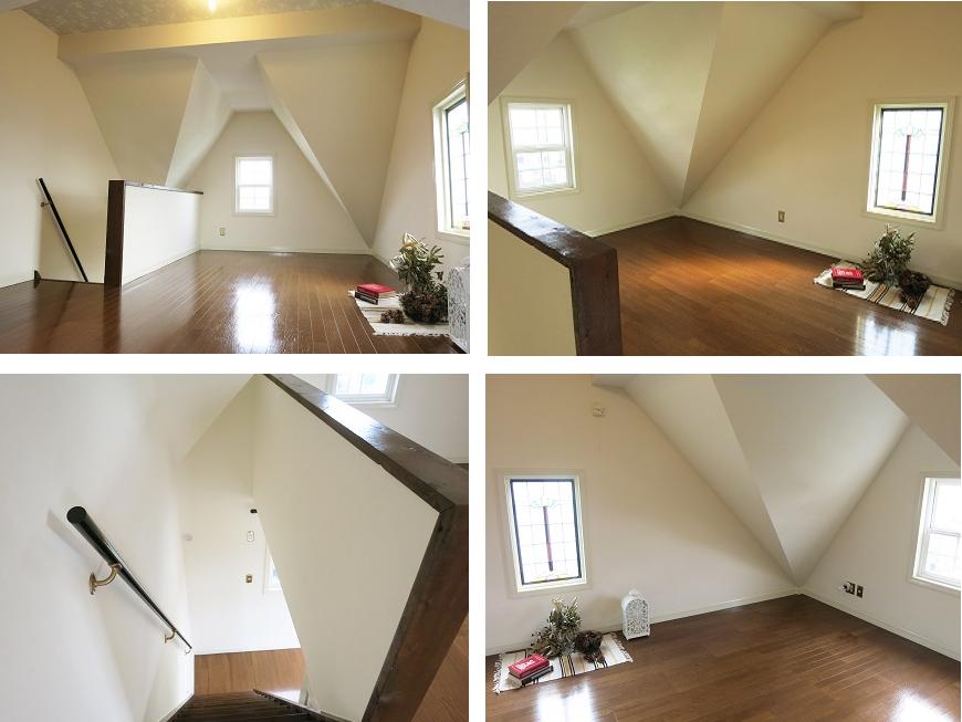 なんと屋根裏部屋まで!天井も高くて窓もプチステンドグラスでかわいい