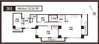 ラ・フォルトゥレス・ド・フェ覚王山間取り301号室
