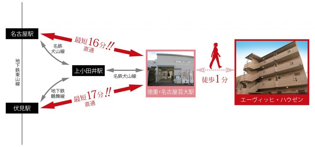 名古屋駅までは最短16分。交通MAP._yoko