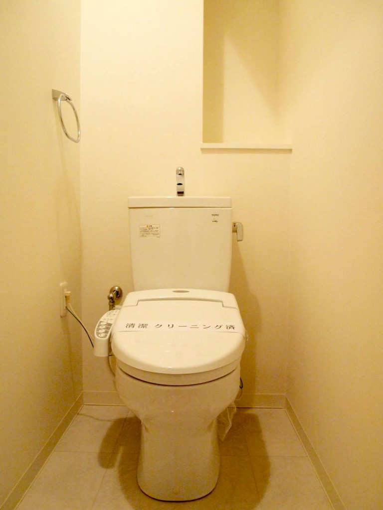 お洒落な小物をかざれそうな棚のあるトイレ。