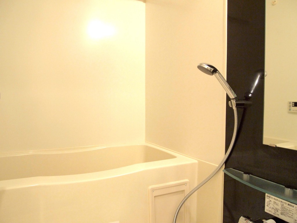 アクセントクロスが空間を引き締める浴室
