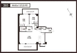 ラ・フォルトゥレス・ド・フェ覚王山間取り203号室