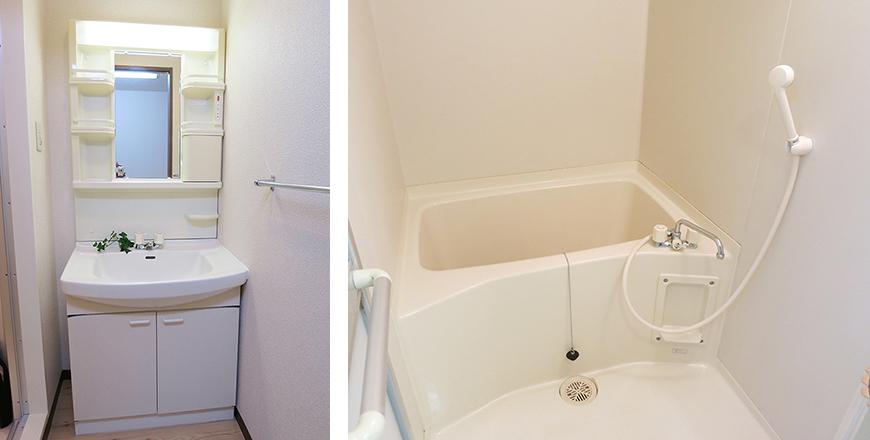 清潔感ある洗面台&バス