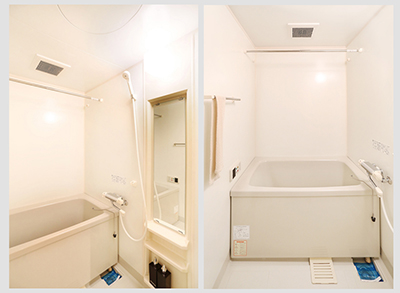 タオル掛けや棚や鏡もついた、きれいなバスルームです。