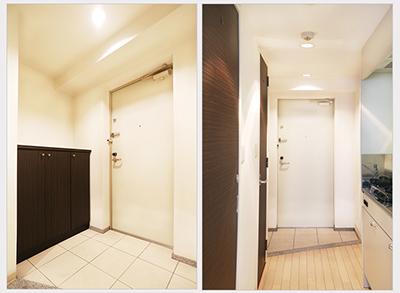 木目調のダークブラウンと白で洗練された、素敵な玄関です。