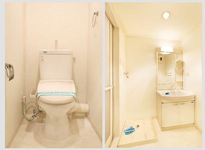 バスルームに隣接する洗面台は、十分なスペースがあるので使い勝手がよさそう。