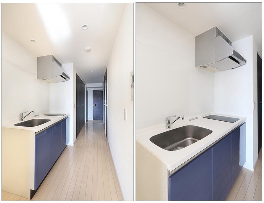 このシンプルなデザインのキッチンは魅力的ですね