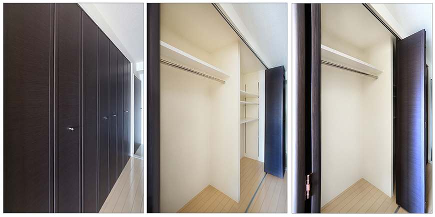 戸はアコーディオン式で様々な開閉が可能です