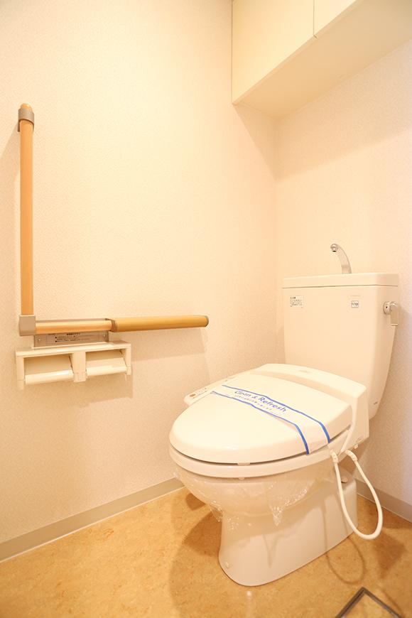 ウォシュレットが嬉しいトイレ。手摺もついています。