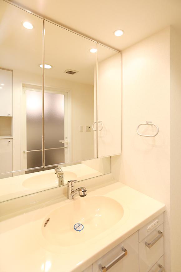 洗面台の鏡の後ろ、洗面台の下も収納スペースになった収納力抜群な洗面台。