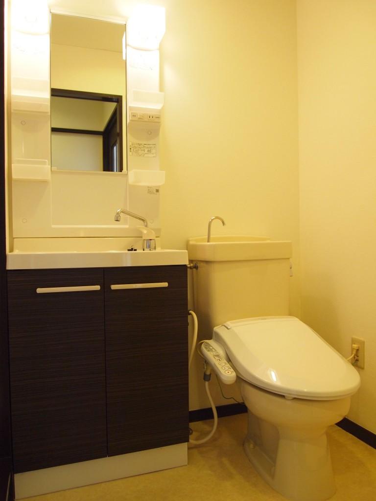 洗面台の扉がシックなお色で、水回りはこんなにもお洒落。