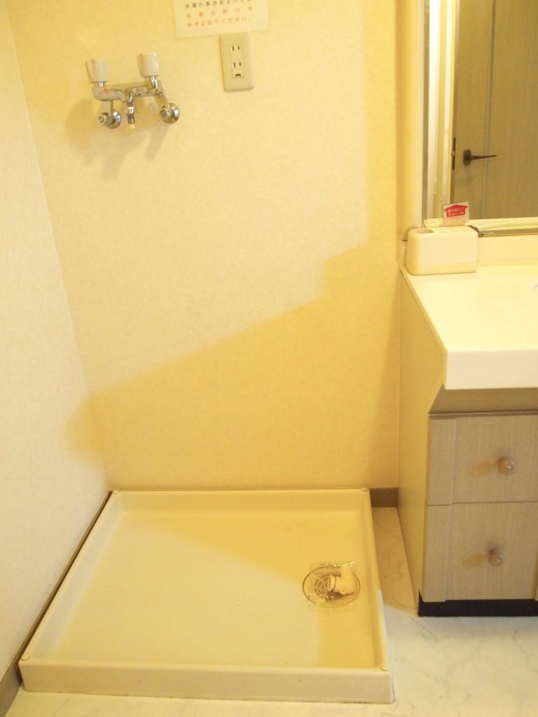 洗面台のすぐ横に洗濯機置き場があります。