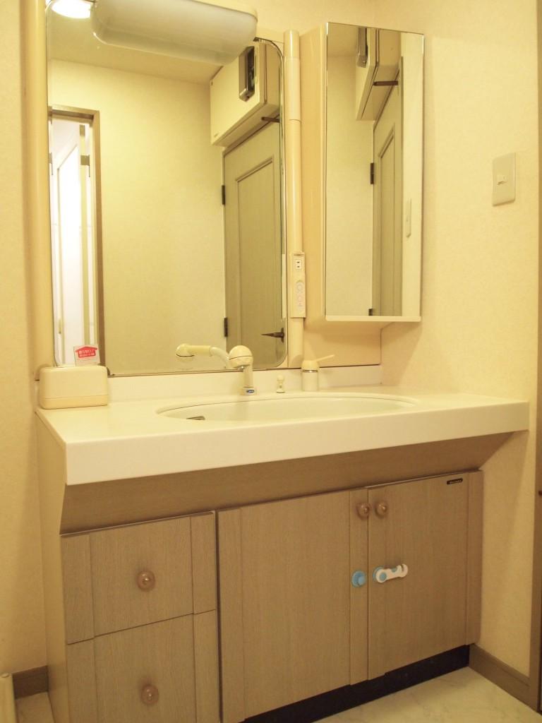 ボウルの右と下にも収納がついた機能性抜群な洗面台。