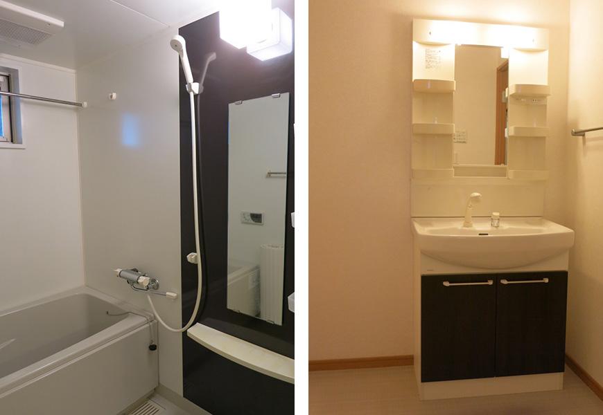 お風呂と洗面は上品なダークブラウンtokubo_07
