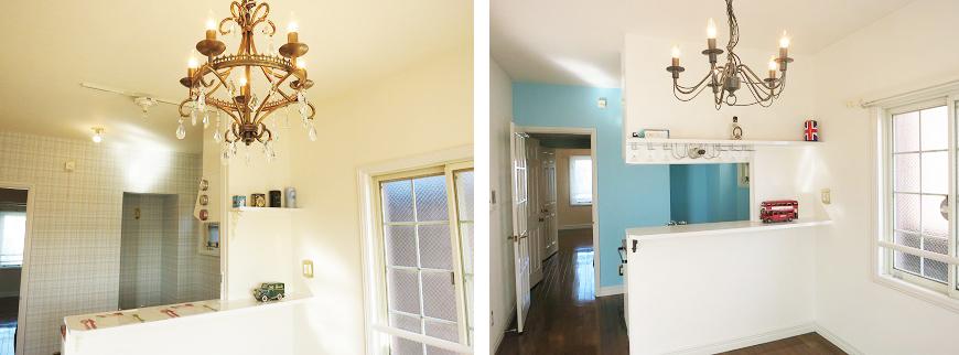 どちらのお部屋の照明も個性的でかわいいです。