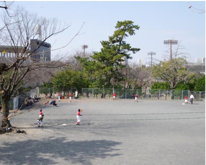瑞穂運動場での野球少年リトルリーグの練習風景