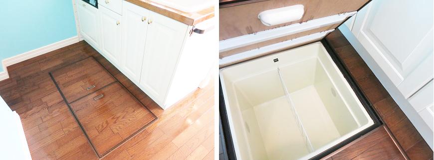 キッチンの足元には床下収納もついています。