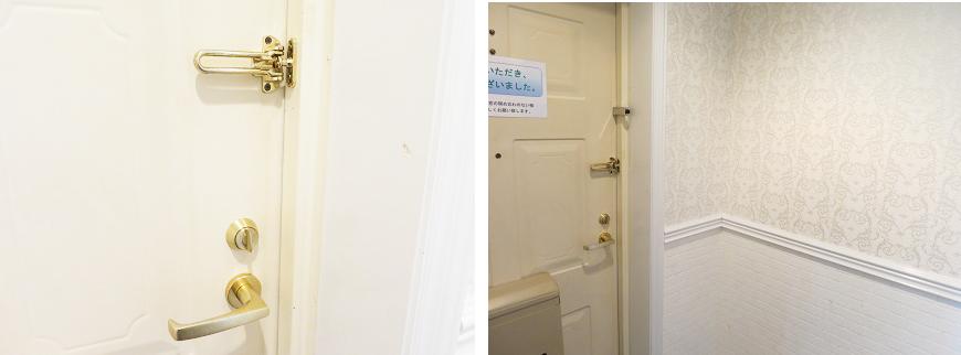 中から見た玄関ドアはこんな感じになっています。