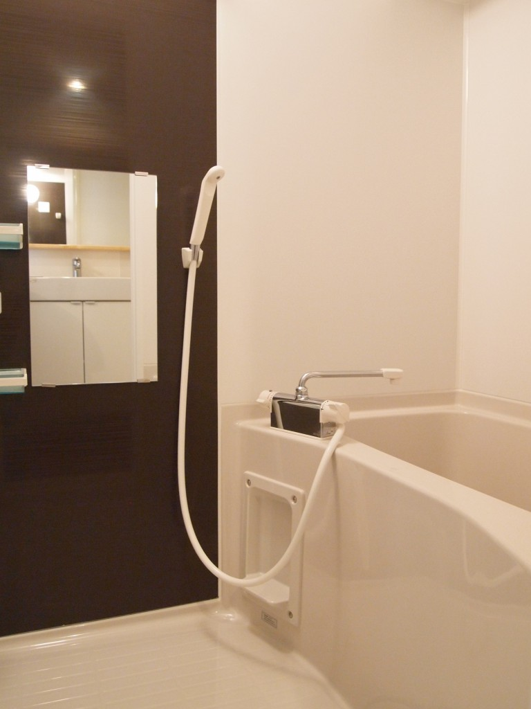えんじ色のアクセントが空間を引き締めるバスルーム。