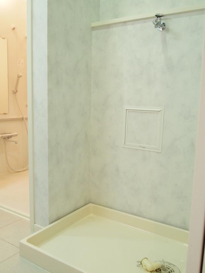 動線がよく考えられた陣取りの洗濯機置き場。