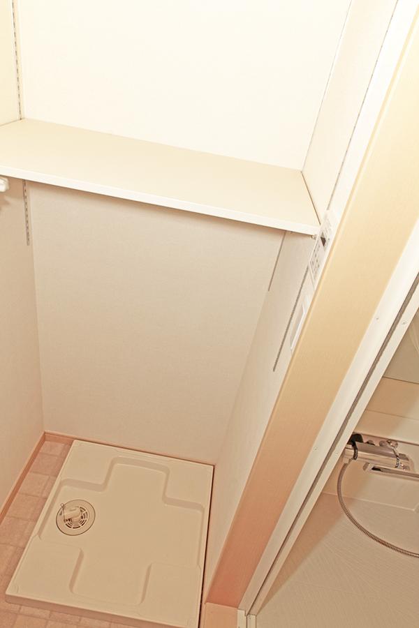 室内洗濯機置き場です。高さを自由に変えられる棚があります_MG_3141s