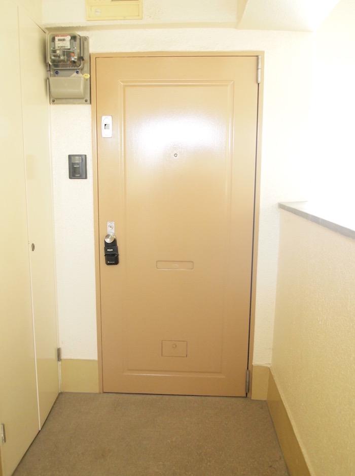玄関ドアは落ち着いたシンプルな色合いです。