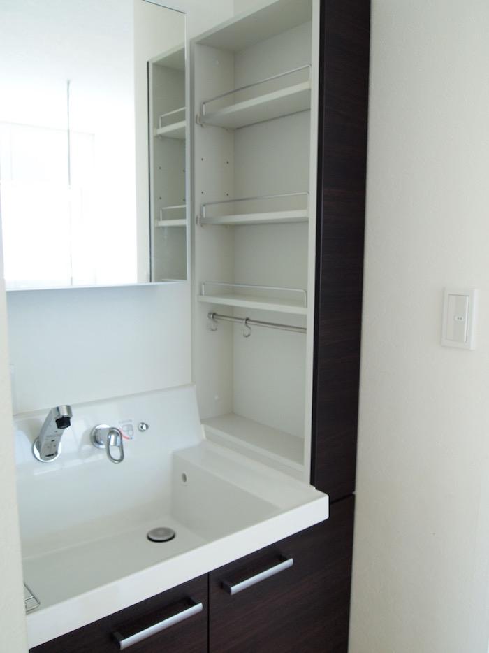 横に設置されている収納が嬉しい洗面台です。