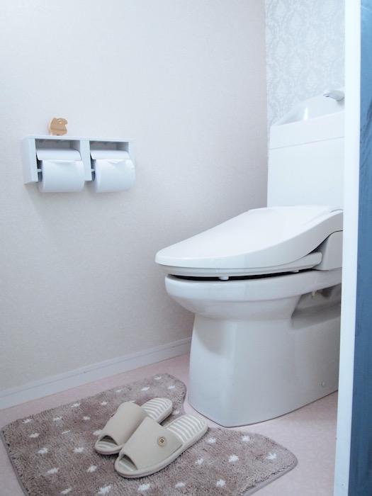同じくお手洗いも、洗面と同系色で清潔感あり。