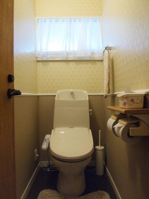 レースを通る光がとてもクリーンな印象を与えるトイレ。