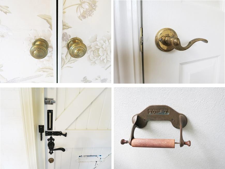 ドアやペーパーホルダーには、オーナー夫婦こだわりのセンスある取手がついています。